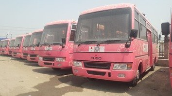 Pink buses stand in a parking lot in Peshawar August 25. The all-women service is set to begin in Abbottabad and Mardan in coming weeks. [Muhammad Ahil]