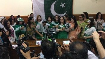 Members of the transgender community celebrate Pakistan's Independence Day at the Peshawar Press Club August 14, 2017. [Qasim Yousafzai]