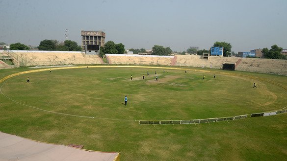 The pitch is shown from the top of Arbab Niaz Stadium in Peshawar August 31. [Shahbaz Butt]