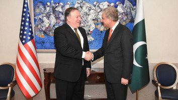 US Secretary of State Mike Pompeo shakes hands with Pakistani Foreign Minister Shah Mehmood Qureshi in Islamabad September 5. [Photo circulated on social media]