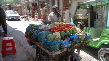An Afghan refugee sells vegetables in Peshawar September 17. [Ashfaq Yusufzai]