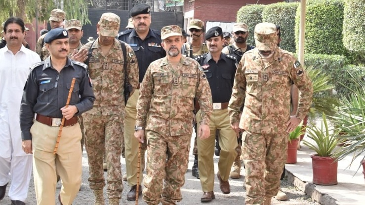 Senior police and army officials in Peshawar visit polling stations to inspect security arrangements for the October 14 by-election. [KP Police]
