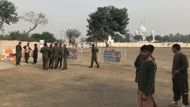 Security personnel can be seen outside Gurdwara Darbar Sahib in Kartarpur November 28. [Nazar ul Islam]