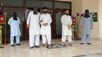 Authorities in Peshawar present two suspected facilitators of a terrorist attack on a Christian community in 2016. Jamatul Ahrar, an offshoot of Tehreek-e-Taliban Pakistan (TTP), claimed responsibility for the attack. [Zahir Shah]