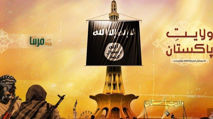 An ISIS image shows its flag on Minar-e-Pakistan, a national monument in Lahore. ISIS is shifting its focus to Pakistan and India after its territorial defeat in the Middle East. [File]