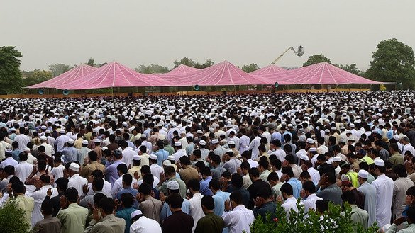An Eid ul Fitr prayer can be seen in this June 4 photo of Peshawar. [Shahbaz Butt]