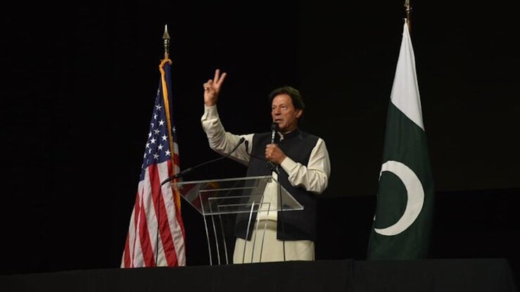 Prime Minister Imran Khan addresses the Pakistani-American community in Washington, DC, on July 21. [PTI]